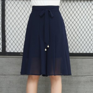 Waist Strap A-Line Pleated Skirt - Blue