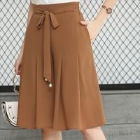 Waist Strap A-Line Pleated Skirt - Khaki