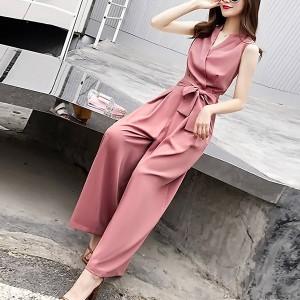 Sleeveless Full Length Sober Women Fashion Dress - Pink