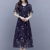 Chiffon Floral Printed Flared A-Line Midi Dress - Blue