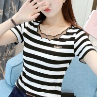 Ruffled Round Neck Short Sleeves Solid Color Top - Black and White