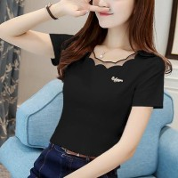 Ruffled Round Neck Short Sleeves Solid Color Top - Black
