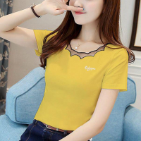 Ruffled Round Neck Short Sleeves Solid Color Top - Yellow