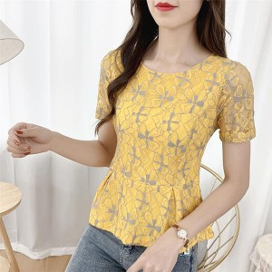 Lace Hollow Floral Pattern Round Neck Blouse Top - Yellow