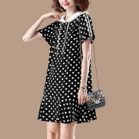 Hoodie Neck Polka Printed Mini Dress - Black and White