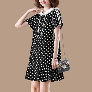 Hoodie Neck Polka Printed Mini Dress - Black and White