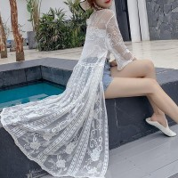 Beach Wear See Through Floral Pattern Long Cardigan - White