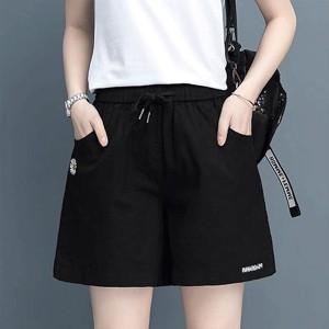 Waist Elastic Loose Wear Women Fashion Shorts Pant - Black