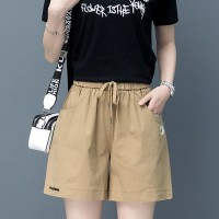 Waist Elastic Loose Wear Women Fashion Shorts Pant - Khaki