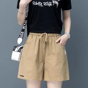 Waist Elastic Loose Wear Women Fashion Shorts Pant - Khaki