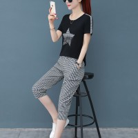 Check Prints Contrast Modern Two Pieces Suit - Black and White