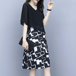 Geometric Printed Slash Chiffon Fabric Fake Mini Dress - Black