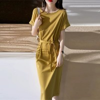 Flared Sleeves Solid Color Round Neck Midi Dress - Yellow