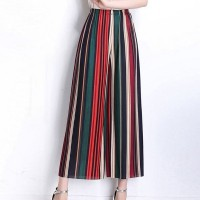 Stripes Printed Loose Bottom Women Fashion Trouser - Multicolor