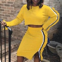 Sports Wear Full Sleeves Striped Two Pieces Suit - Yellow