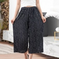 Palazzo Printed Elastic Waist Women Fashion Trouser - Black