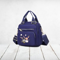 Floral Thread Art Embroidery Adjustable Strap Shoulder Bags - Blue