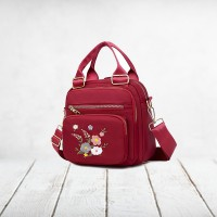 Floral Thread Art Embroidery Adjustable Strap Shoulder Bags - Red