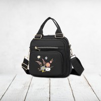 Floral Thread Art Embroidery Adjustable Strap Shoulder Bags - Black