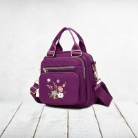 Floral Thread Art Embroidery Adjustable Strap Shoulder Bags - Purple