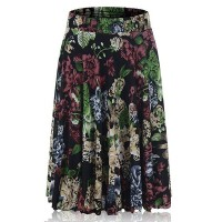 Floral Printed Elastic Waist Women Fashion Palazzo Trouser - Green Red