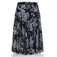 Floral Printed Elastic Waist Women Fashion Palazzo Trouser - Gray