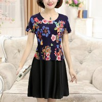 Digital Floral Printed Round Neck Mini Dress
