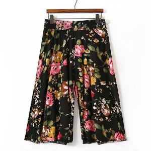 Floral Printed Elastic Waist Women Fashion Palazzo Trouser - Multicolor