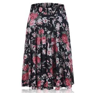 Floral Printed Elastic Waist Women Fashion Palazzo Trouser - Black
