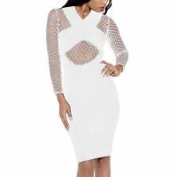 Hollow Cross Pattern Full Sleeves Mini Dress - White