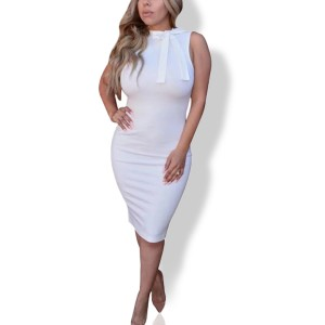 Knotted Neck Body Fitted Sexy Wear Midi Dress - White