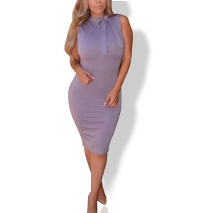 Knotted Neck Body Fitted Sexy Wear Midi Dress - Purple