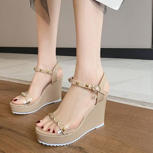 Crystal Decorative Platforms Thick Bottom Party Sandals - Beige