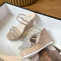 Crystal Decorative Platforms Thick Bottom Party Sandals - Khaki