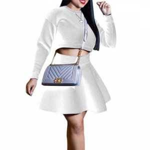 Flared Skirt Two Pieces Full Sleeves Women Fashion Suit - Cream White
