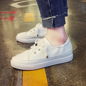 Soft Sole Lace Closure Running Shoes - White