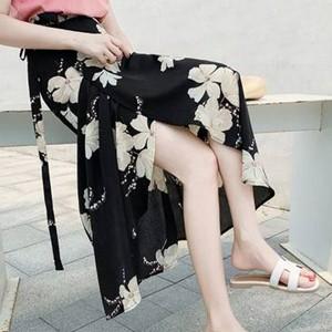 Floral Printed Split Hem Women Fashion Skirt - Black
