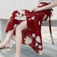 Floral Printed Split Hem Women Fashion Skirt - Red
