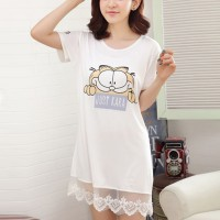 Cat Prints Round Neck Short Sleeves Mini Dress - White