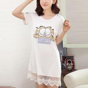 Cat Prints Round Neck Short Sleeves Mini Dress - White