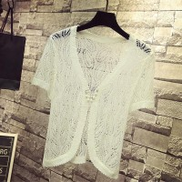 Hollow Lace Short Sleeves Outwear Women Fashion Cardigan - White