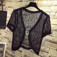 Hollow Lace Short Sleeves Outwear Women Fashion Cardigan - Black