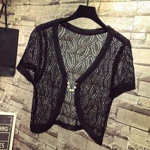 Hollow Lace Short Sleeves Outwear Women Fashion Cardigan - Black