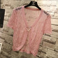 Hollow Lace Short Sleeves Outwear Women Fashion Cardigan - Pink