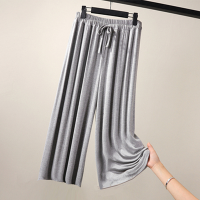 Elastic Waist Solid Color Formal Trouser - Gray