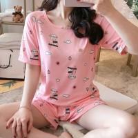 Round Neck Printed Two Pieces Pajama Nightwear Suit - Pink