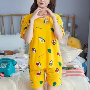 Round Neck Printed Two Pieces Pajama Nightwear Suit - Yellow