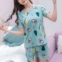 Round Neck Printed Two Pieces Pajama Nightwear Suit - Blue