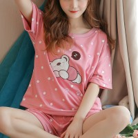 Printed Two Pieces Pajama Nightwear Suit - Pink