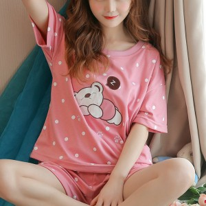 Printed Two Pieces Pajama Nightwear Suit - Pink